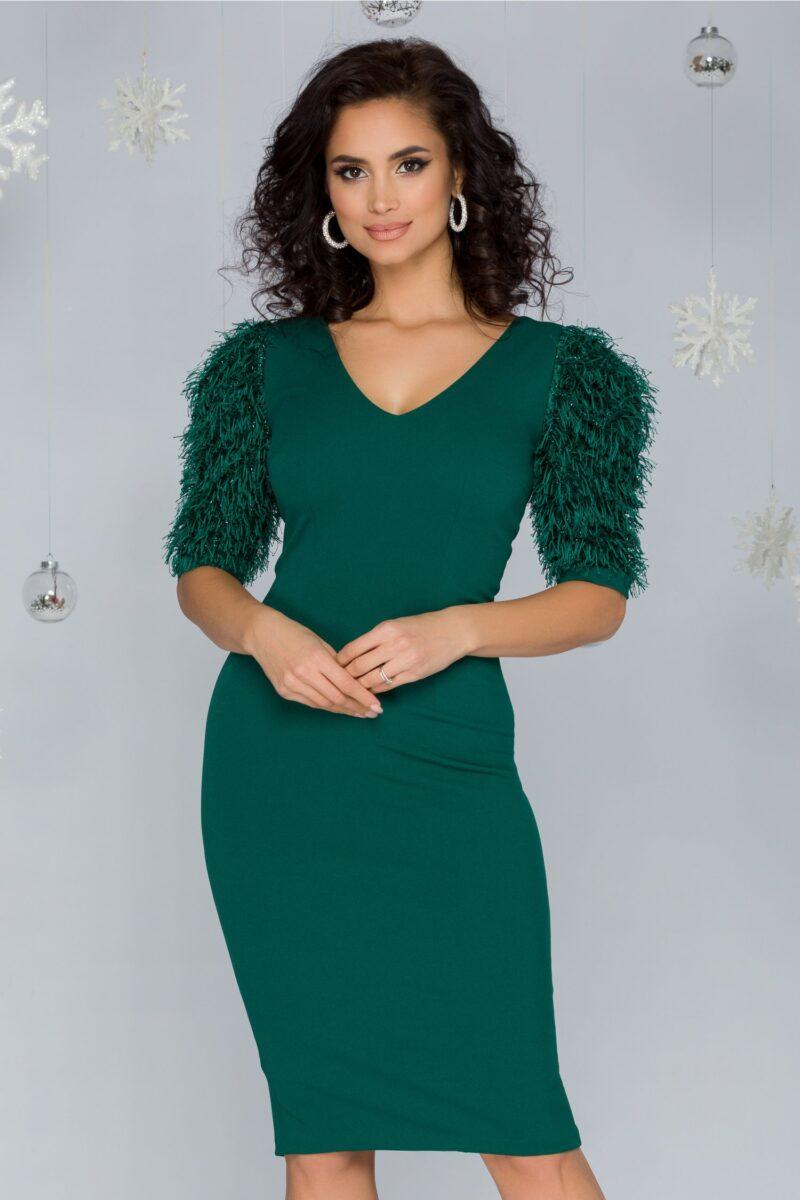 Rochie  verde cu maneci din franjuri si fir lurex