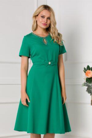 Rochie verde cu maneci scurte si decolteu accesorizat
