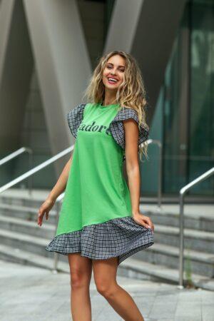 Rochie verde cu volane si imprimeu text
