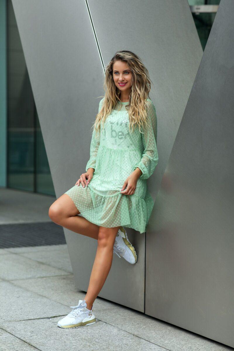 Rochie verde din tull cu inimioare si jupon cu imprimeu