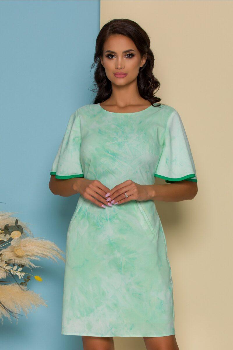 Rochie  verde marin lejera cu maneci scurte evazate