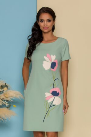 Rochie verde mint cu imprimeu floral pastelat