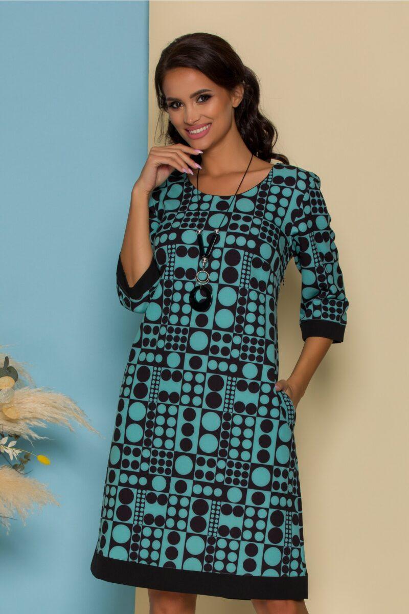 Rochie verde mint cu imprimeuri geometrice