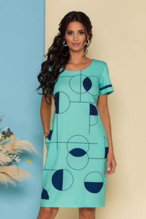 Rochie  verde mint cu imprimeuri geometrice bleumarin