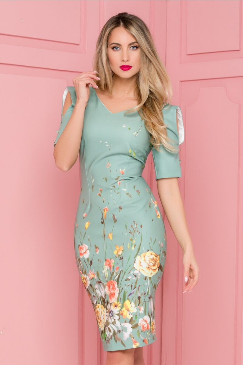 Rochie verde pal cu imprimeu floral